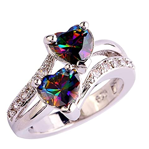 YAZILIND Engagement Heart Ring Colorful Crystal Bridal Anniversary Women Jewelry Size7