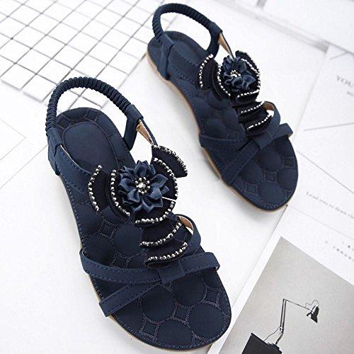 COOLCEPT Femmes Mode Orteil ouvert Slingback Sandales Fille Ecole Elastique Dentelle Chaussures with Floral Bleu