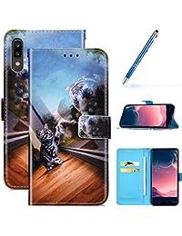 Robinsoni Funda Compatible con Samsung Galaxy A30 Libro Billetera Funda Galaxy A20 Funda Cuero Kickstand Funda Cartera Funda Cuero en Silicone Funda Flip Carcasa Proteccion Completa 360 Funda