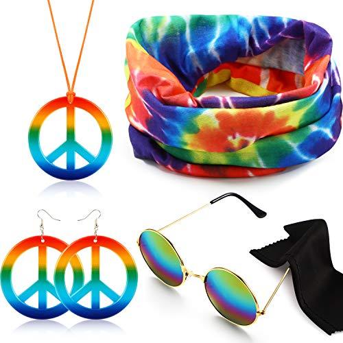 Hippie Kostüm Set Hippie Dressing Zubehör Kit Enthält Hippie Sonnenbrille, Stirnband, Frieden Zeichen Halskette und Ohrringe (Kids 70er-jahre-look Für)