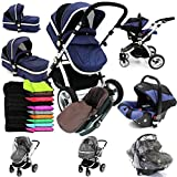 i-Safe System - Navy Trio Travel System Pram & Luxury Stroller 3 in 1 Complete With Car Seat + Footmuff + Carseat Footmuff + RainCovers