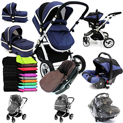 i-Safe System – Navy Trio Travel System Pram & Luxury Stroller 3 in 1 Complete With Car Seat + Footmuff + Carseat Footmuff + RainCovers 51gtWAe77gL
