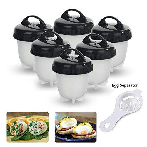 Egg Cooker Egglettes Cocedor Huevos sin BPA Cocina Cocer sin la Cáscara Salud y Seguro( Negro * 6 Pcs)