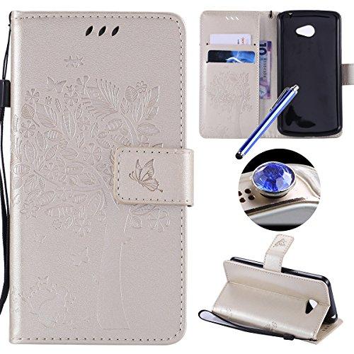 LG K5 Coque,Etsue Fine Folio Cuir Coque de Téléphone Mobile pour LG K5,Raffinement Degré Supérieur Mode Leather Case étui [Relief Arbre platine Motif] pour LG K5,Carte de Visite Dossier Fonction Support Portefeuille Pochette Housse en Cuir pour LG K5 avec Lanière Cadeaux Gratuit + 1 x Bleu stylet + 1 x Bling poussière plug (couleurs aléatoires)