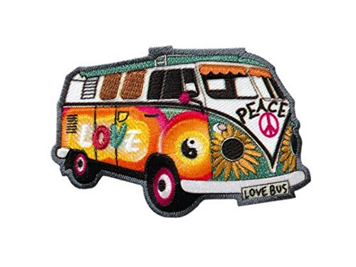 Hippie Bus - Bully - Love Peace - Aufnäher Aufbügler Applikation Patch