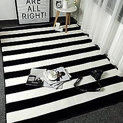 Bath Time Flagship Store LUYIASI- Alfombra Nórdica Rayas en Blanco y Negro Simple Moderna Puerta Cojín Sala de Estar Mesa de café Sofá Alfombra Non-Slip Mat (Color : F, Tamaño : 80x185cm)