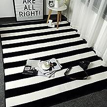Bath Time Flagship Store LUYIASI  Teppich Nordic Schwarz Und Weiß Streifen  Einfache Moderne Tür Kissen