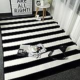 Bath Time Flagship Store LUYIASI- Teppich Nordic Schwarz und Weiß Streifen Einfache Moderne Tür Kissen Wohnzimmer Couchtisch Sofa Teppich Non-Slip Mat (Farbe : F, Größe : 150x190cm)