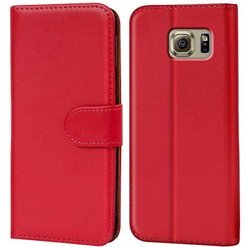 Verco Galaxy S6 Edge Hülle, Handyhülle für Samsung Galaxy S6 Edge Tasche PU Leder Flip Case Brieftasche - Rot
