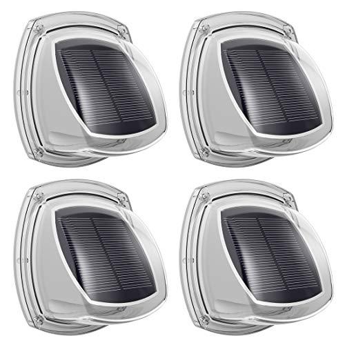 Solar Sensor Wandleuchte 4 Stück, Solar Zaun Lichter mit Monokristallinen Solar Panel, Höhere Umwandlungsrate, IP67 Wasserdicht, Auto Ein/Aus, Solarlampe für Wände Gartenzaun Patio Garage Treppenhaus