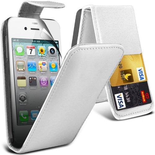 ( Baby Blue ) Apple iphone 4 Premium Stylish Protective Faux Skin Case flip carte de crédit / débit Slot couverture en cuir & Protecteur d'écran LCD Garde by Spyrox ( Blanc )
