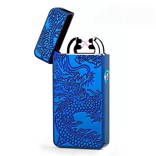 Visibee, accendino anti-vento elettronico a doppio arco, con USB, ricaricabile e tascabile, accendino tascabile ad ignizione priva di gas (cavo USB incluso)