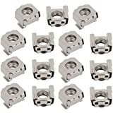 uxcell 15pcs M8 Carbon Steel Nickle Plated Cage Nut for Server Shelf Cabinet