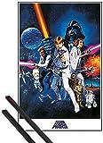 1art1® Poster + Suspension : Star Wars Poster (91x61 cm) Épisode IV, Un Nouvel Espoir, Affiche De Cinéma Et Kit De Fixation Noir...