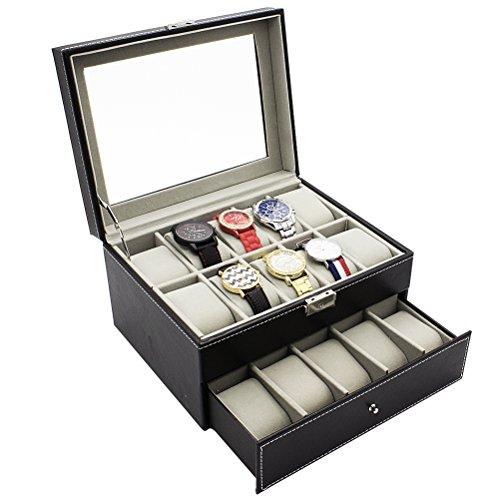 HBF Uhrenbox Uhrenkasten oder Uhrenkoffer PU-Leder fein schneidern für 6 bis 24 Uhren (20 Uhren)