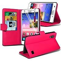 ( Hot Pink ) Huawei Ascend G620s Hülle Abdeckung Cover Case schutzhülle Tasche Stylish Designed Book PU-Leder-Mappen-Schlag-2 mit Kredit- / Debitkartensteckplatz-Kasten-Haut-Abdeckung mit LCD-Display Schutzfolie, Poliertuch und Mini-versenkbaren Stift durch Fone-Case