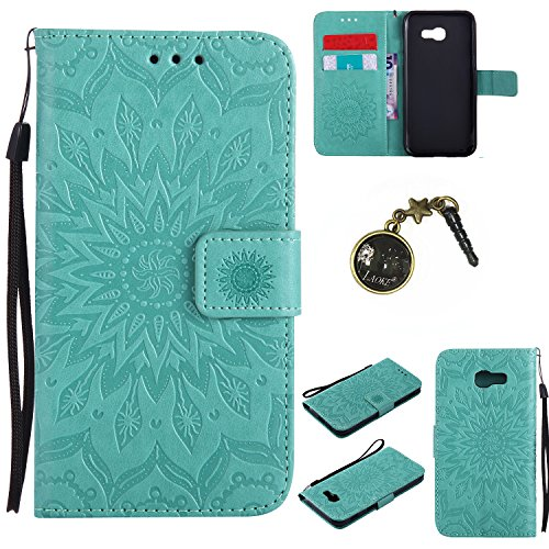 Preisvergleich Produktbild für Smartphone Samsung Galaxy A5 2017 Hülle, Leder Tasche für Samsung Galaxy A5 2017 Flip Cover Handyhülle Bookstyle mit Magnet Kartenfächer Standfunktion (+ Staubstecker) (2)