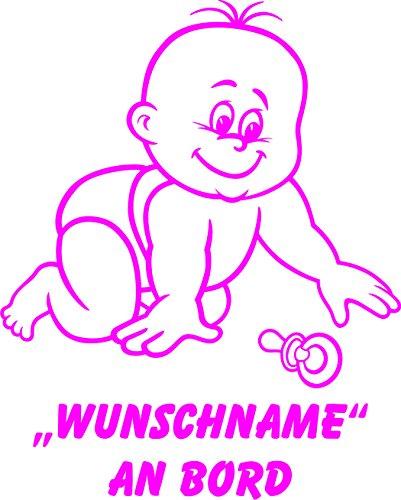 INDIGOS UG - Babyaufkleber / Kinderaufkleber 083 mit Wunschname / Wunschtext an Bord ca. 20 cm Höhe - Autoaufkleber in verschiedenen Farben