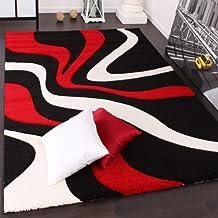 Alfombra De Diseño Perfilado - Estampado De Ondas - Rojo Negro Blanco, Grösse:80x150 cm