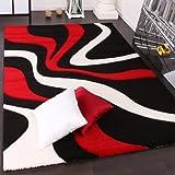 Alfombra De Diseño Perfilado - Estampado De Ondas - Rojo Negro Blanco, Grösse:120x170 cm