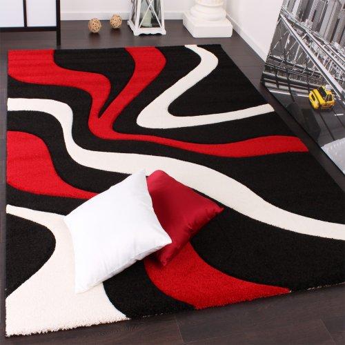 Alfombra De Diseño Perfilado - Estampado De Ondas - Rojo Negro Blanco, Grösse:60x110 cm