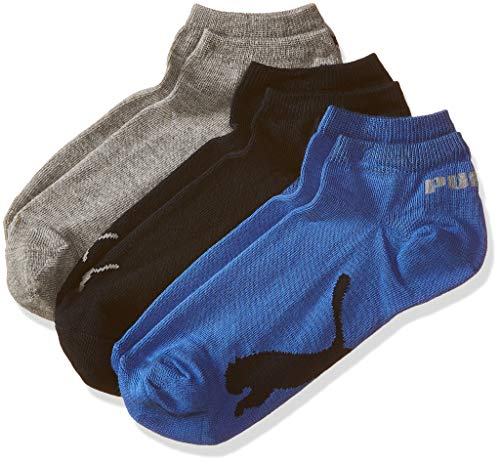 Puma Men's Athletic Socks (Pack of 3) (IN91079401_Navy/ Grey/Strong Blue_37/40)