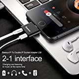 iPhone 7/ 8/ X Adapter and Splitter, Baseus Lightning Adapter Double Lightning Headphone 2 in 1 Charge and Audio Listen to Music at the Same Time Converter for iPhone X,iPhone 8/8Plus/7/7Plus (Black)