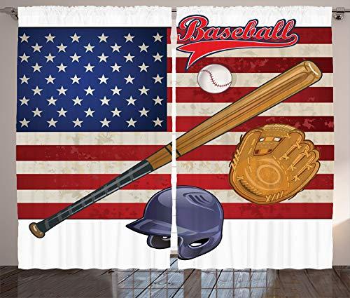 ABAKUHAUS amerikanisch Rustikaler Gardine, USA Flagge und Baseball, Schlafzimmer Kräuselband Vorhang mit Schlaufen und Haken, 280 x 175 cm, Mehrfarbig -