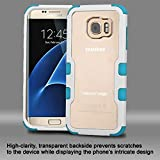 Asmyna Cell Phone Case for Samsung Galaxy S7 Edge - White Frame+Transparent PC Back/Tropical Teal
