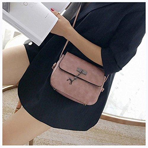 BZLine® Frauen Hirsch Beutel-Weinlese-kleine lederne Handtaschen-beiläufige Beutel Umhängetasche Pink