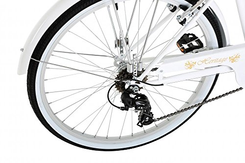 "51gtdkUyYTL - Classic Heritage Ladies 26"" Wheel 7 Speed 16""£ Frame Traditional Bike Bicycle White"