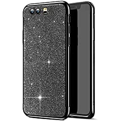 Robinsoni Compatible avec Huawei Honor 9 Coque,Placage Paillettes Brillante Bling Glitter de Strass Coque Silicone TPU Souple Ultra-Mince Anti Choc Bumper Housse Etui Protection Huawei Honor 9,Noir
