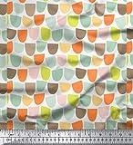 Soimoi Weiß schwere Leinwand Stoff halb~POS=TRUNC geometrisch Stoff drucken 1 Meter 58 Zoll breit