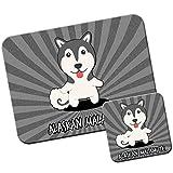 American Cartoon cani tappetino per mouse/Pad e set di sottobicchieri Alaskan Malamute, Mal, Mally