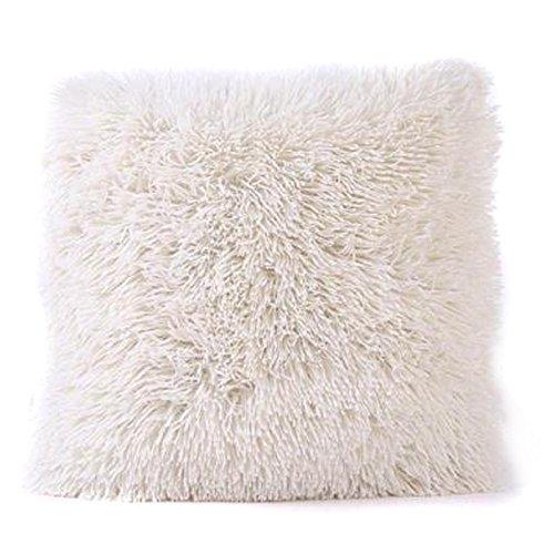 1Stk Weichen Plüsch Kissen Abdeckung Sofa Werfen Kissen Dekor 18 x 18 Zoll (Beige)