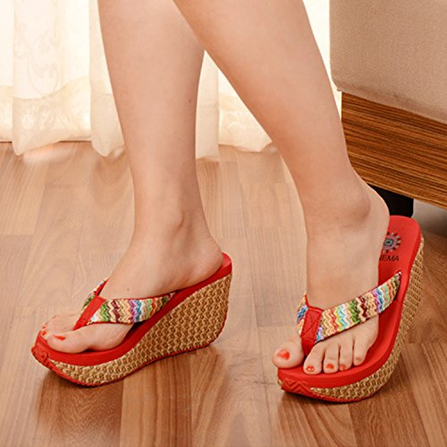 2b22ddcebda ... Oasap Women s Fashion Bohemian Wedge Heels Flip Flops Thong Sandals  Black ...