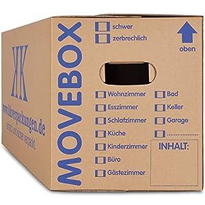 KK Verpackungen 10 x Umzugskartons Movebox 2-wellig doppelter Boden in Profi Qualität 634 x 290 x 326 mm