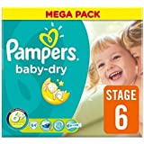 Pampers Baby Dry Size 6 + (17 + kg) Mega Box Extra Large Plus x 62 per pack by Pampers
