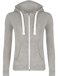 Plus Size Womens Hooded Zipper Ladies Hoodie Long Sleeve Sweat Top Sizes 14 - 28