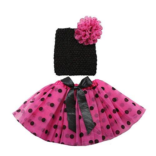 Girls Hot Pink Black Polka Dot Ribbon Tutu Headband Set 0-8Y