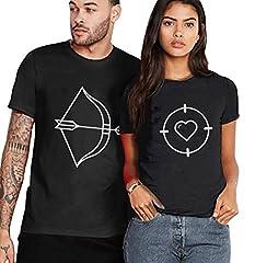 Idea Regalo - San Valentino Shirt King Queen Couple Fidanzati T-Shirt Coppia 100% Cotone Stampa Maglietta Manica Corta Dolce Regalo Bianco Nero (Nero+Nero,S+S)