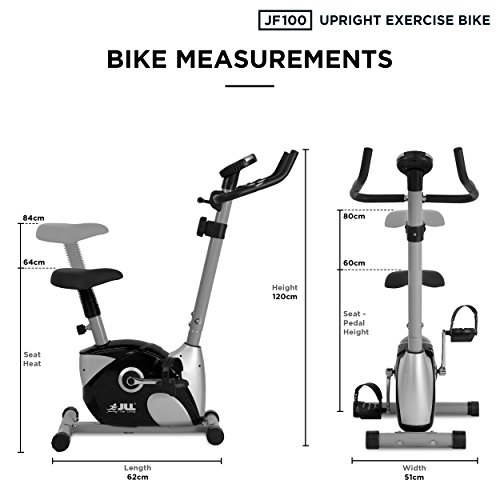 JLL® JF100 Home Exercise Bike, 2019 New Adjustable Magnetic Resistance  Cardio Workout, 4kg Two-Way Flywheel, Display with Heart-Rate Sensor,