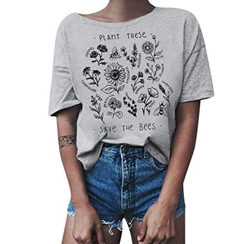 Lurcardo Damen Shirts T-Shirt Blusen Sommer Sexy Einfarbig Schulterfrei Blumenmuster Tuniken Mode Tops Kurzarm Kurze Ärmel Lässiges Lose Bluse Oberteil Frauen Teenager Mädchen Hemd Pulli Pullover Tee
