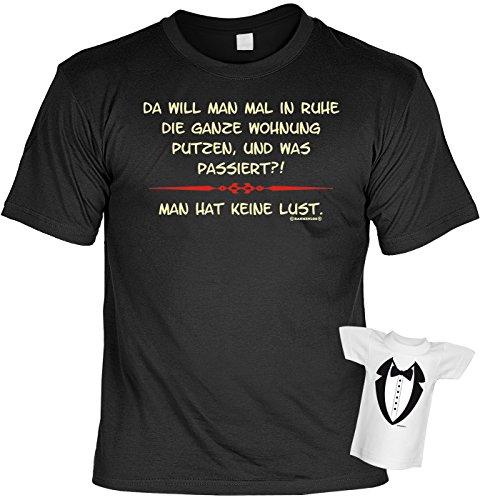 Fun T-Shirt Wohnung putzen - Keine Lust Shirt bedruckt Geschenk Set mit Mini Flaschenshirt Schwarz