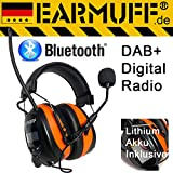 -25dB original EARMUFF mit DAB+ Digital Radio und Bluetooth - Extra Robuster Radio Kapsel Gehörschutz Kopfhörer mit Smartphone Anschluss