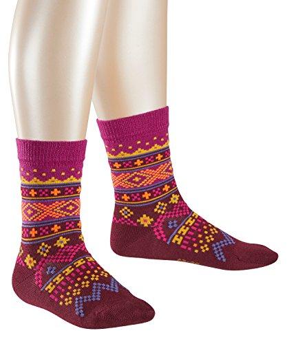 FALKE Mädchen Socken Fair Isle, Mehrfarbig (Merlot 8005), 23-26 (Merinowolle Leichte Socken)