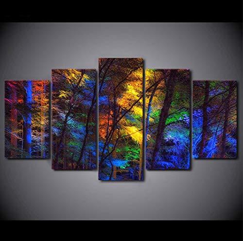 ACCEY Leinwand Malerei Wandkunst 5 Stücke Farbe Vier Jahreszeiten Baum Landschaft Bilder HD Drucke Modulare Wohnkultur Schlafzimmer Poster-R1NoFrame -