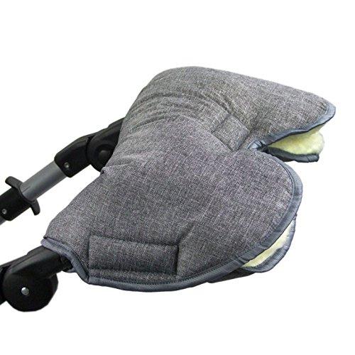 BAMBINIWELT universaler Muff/Handwärmer für Kinderwagen, Buggy, Jogger mit Wolle, meliert DUNKELGRAU