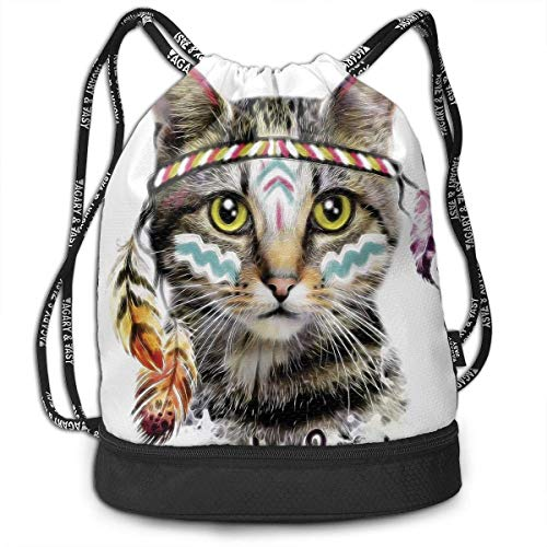 Rucksäcke,Sporttaschen,Turnbeutel,Daypacks, Funny Unisex Drawstring Beam Backpack Hippie Cat Print Backpack - Mikrofaser Drawstring-rucksack