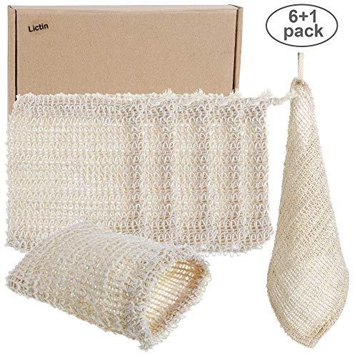 Lictin Seifensäckchen 6x Seifensäckchen Sisal Seifenbeute Natur Seifentasche Seifenreste Peeling Massage Aufschäumen und Trocknen der Seife